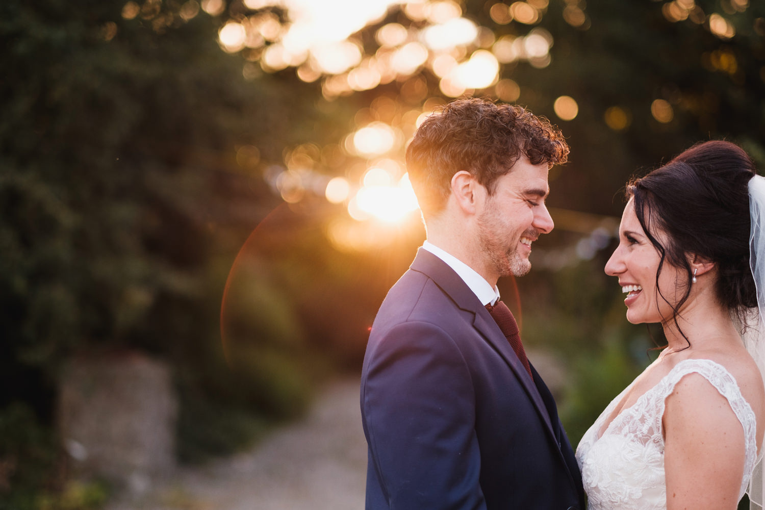 evening golden light at cloughjordan house wedding by david mccl