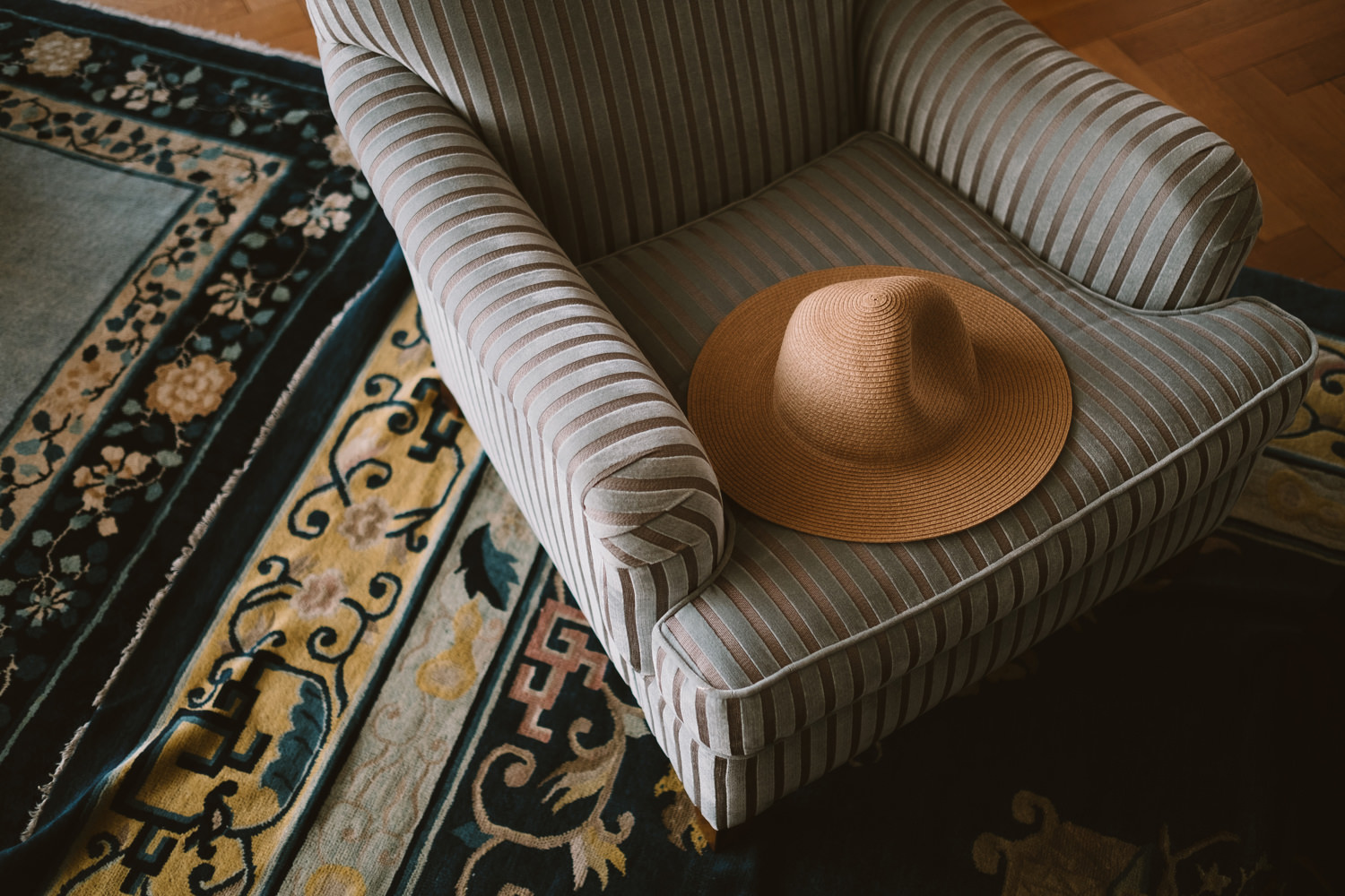 straw hat on chair