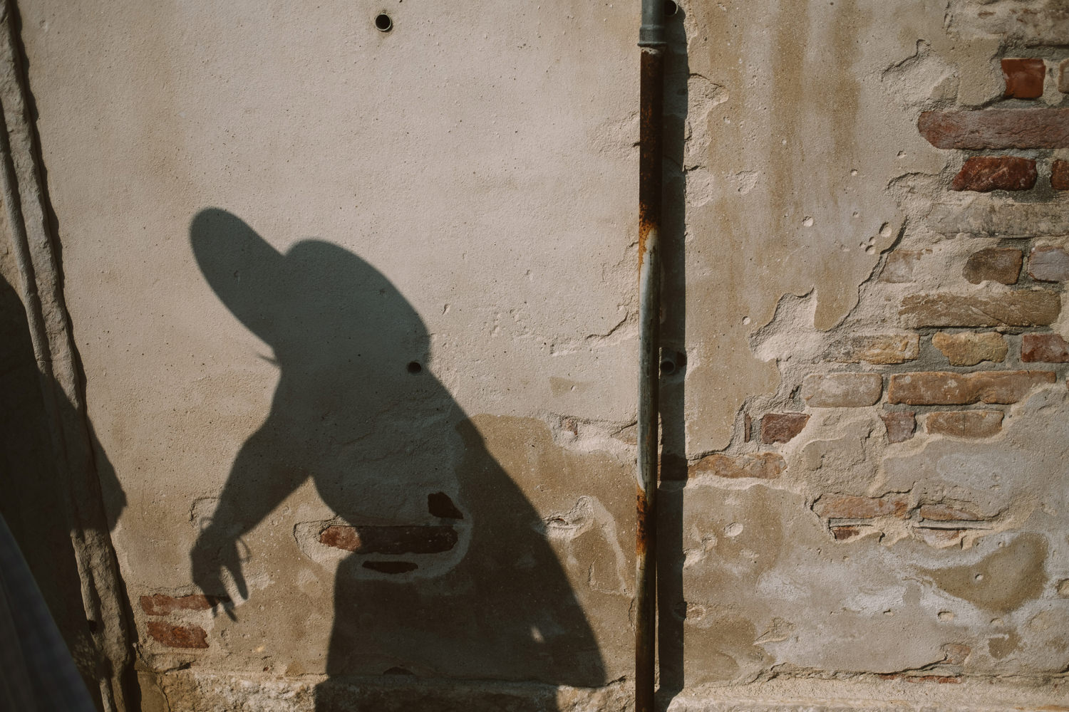 shadow of bride on wall in venice