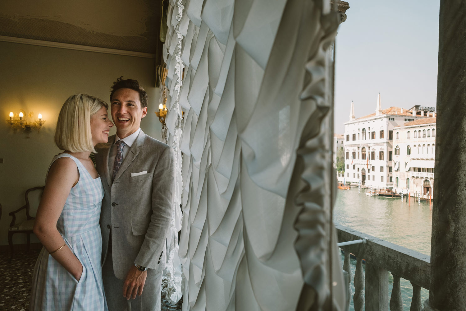 bride and groom checking out the ceremony room at palazzo cavall