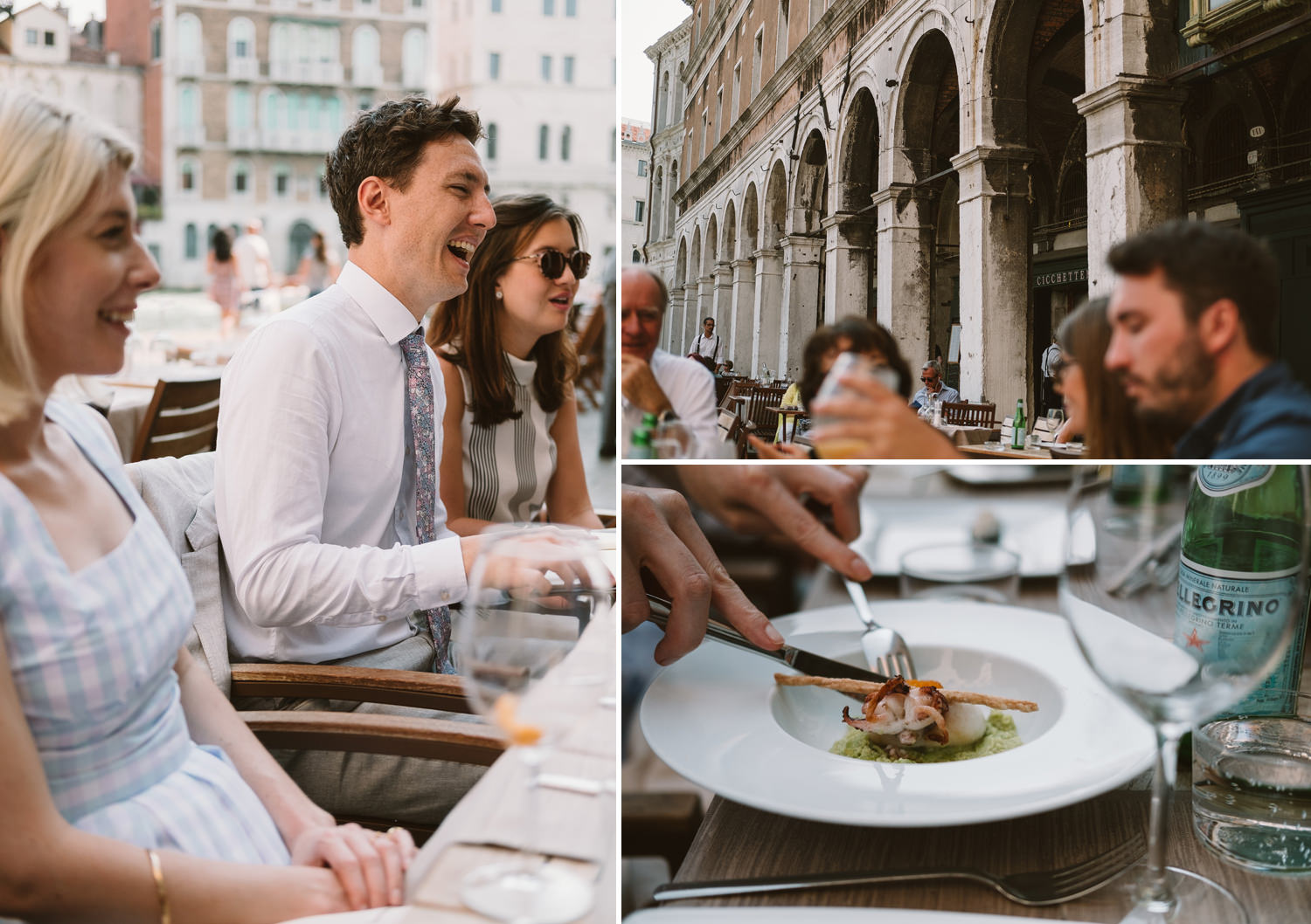 wedding guests have lunch at osteria al Pesador