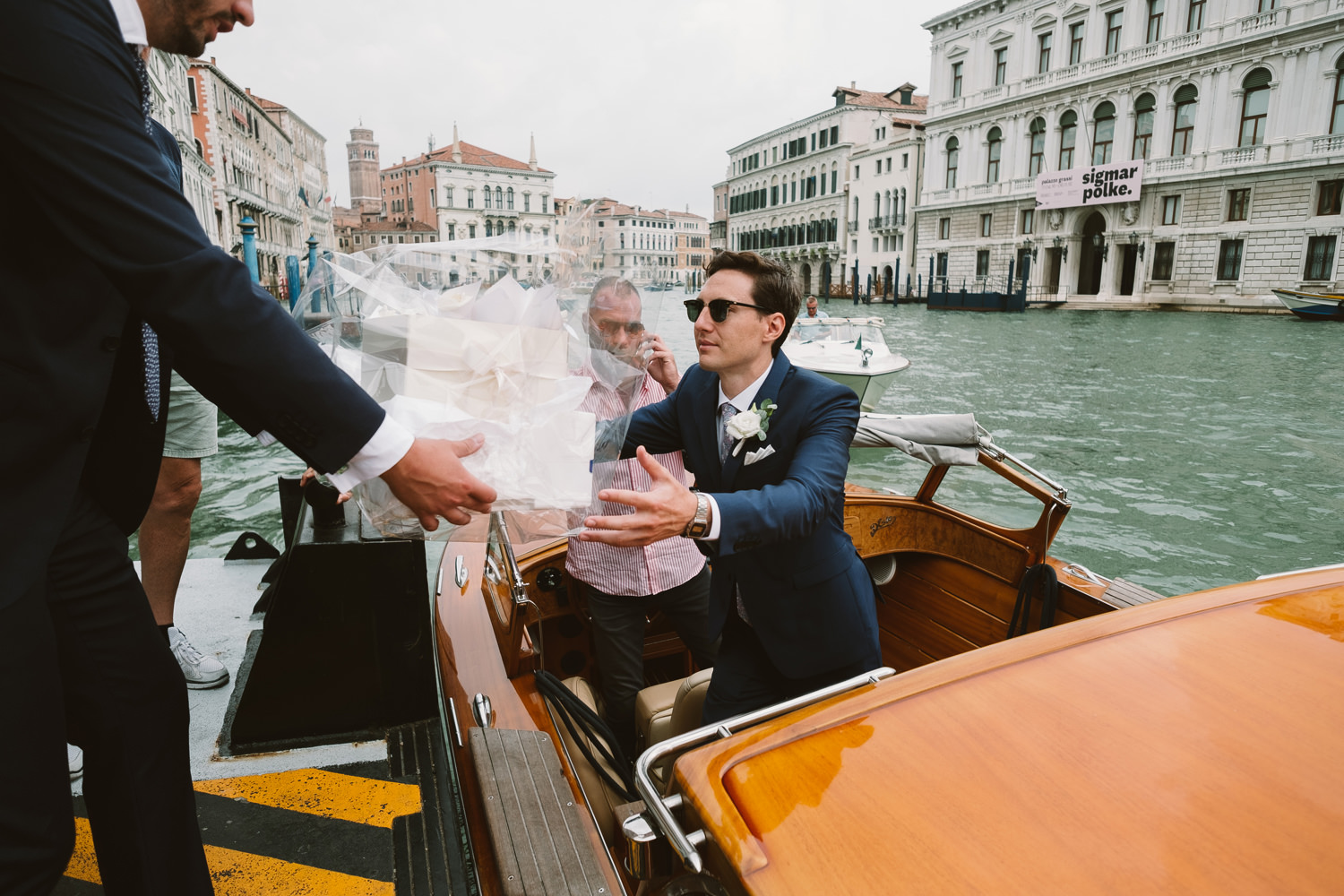groom on way to wedding in venice