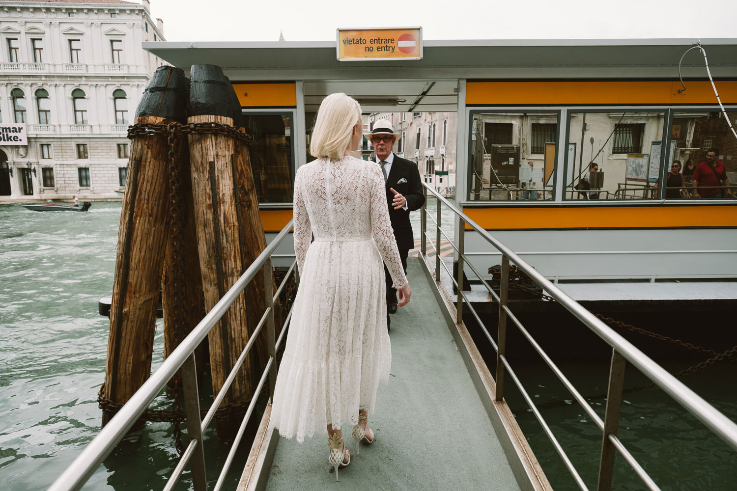 groom on way her way to a wedding in venice by destination weddi