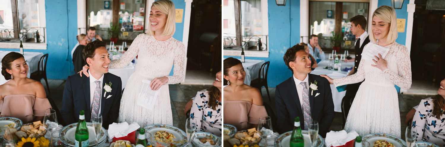 bride and groom and guests burano wedding speehes in venice by d