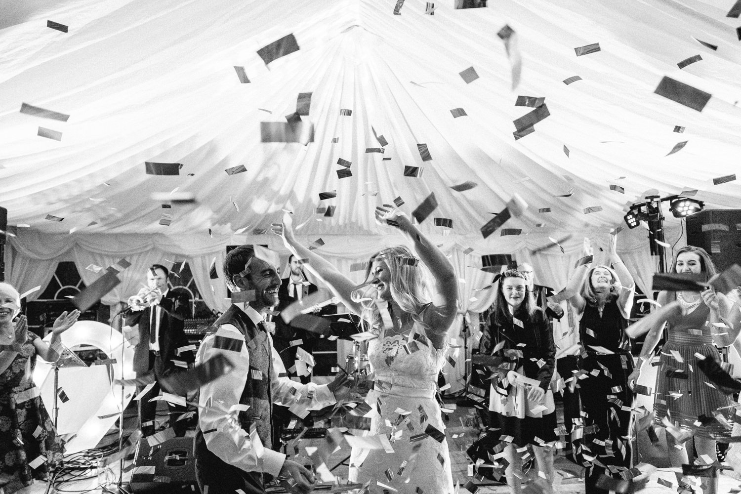 wedding dance with expolding confetti canon
