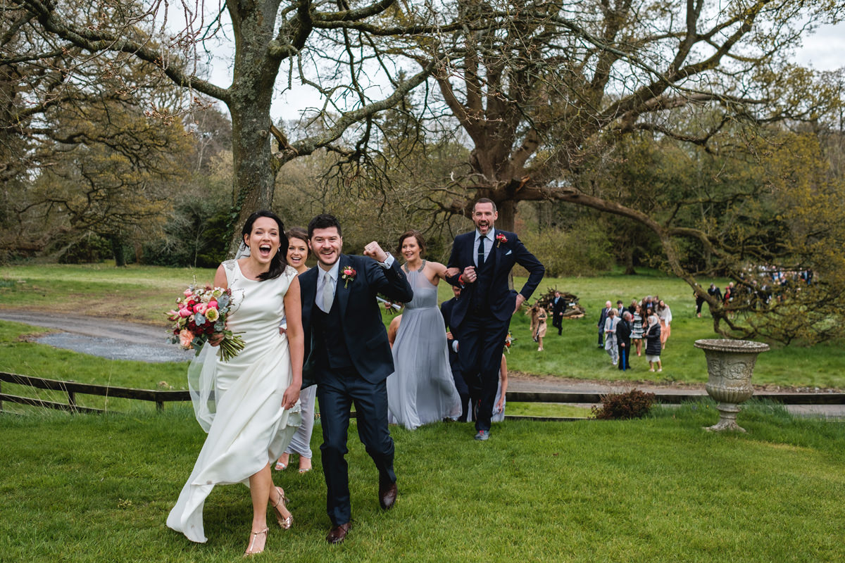fun outdoor wedding in ireland at lisnavagh house