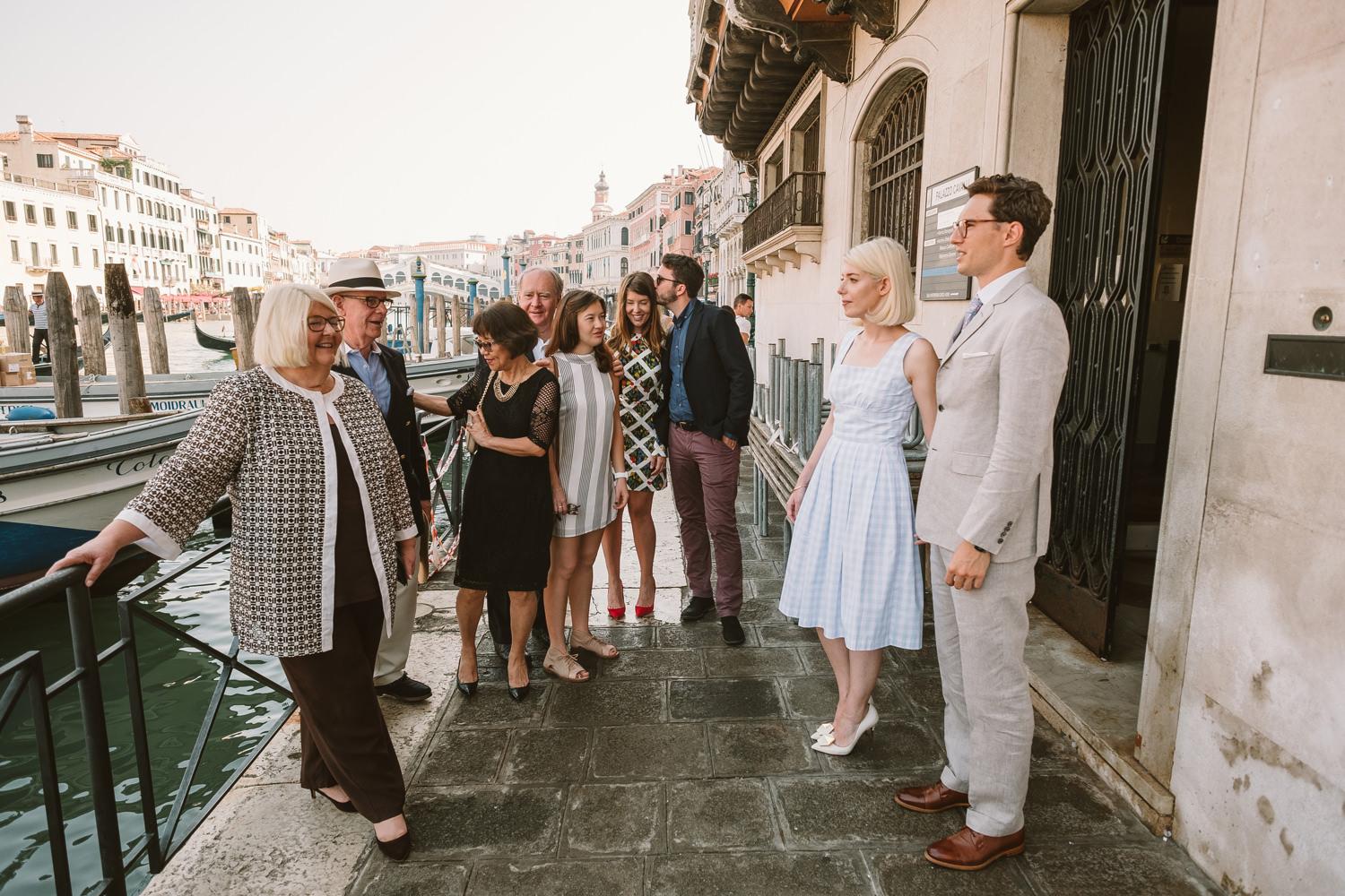 small wedding party in venice at palazzo cavalli