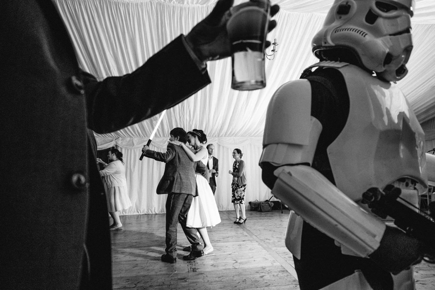 first dance with light saber as darth vader and storm troopers w