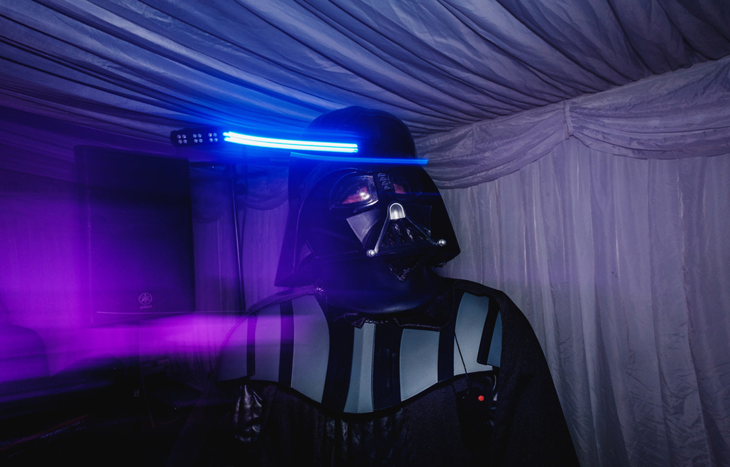 darth vader with light trails at a wedding