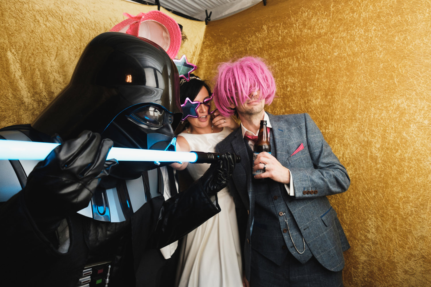 darth vader in the photobooth at the end of the wedding